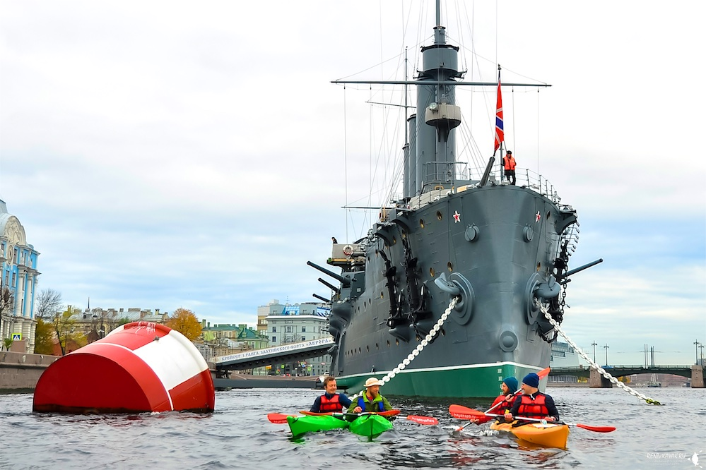Kayaking in Saint Petersburg Cruiser Aurora Kayak Trip (Saturday and Sunday)